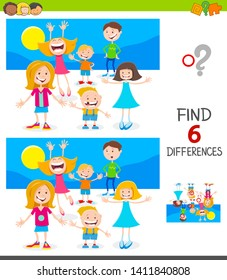Cartoon Illustration of Finding Six Differences Between Pictures Educational Game for Kids with Happy Children Characters Group