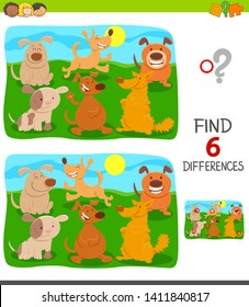 Cartoon Illustration of Finding Six Differences Between Pictures Educational Game for Children with Cute Dogs and Puppies Group