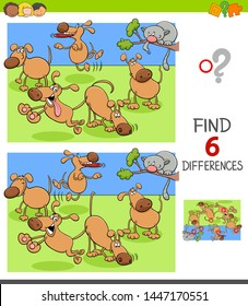 Cartoon Illustration of Finding Six Differences Between Pictures Educational Game for Children with Happy Dogs in the Park