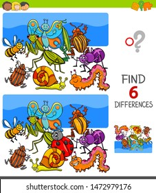 Cartoon Illustration of Finding Six Differences Between Pictures Educational Game for Children with Insects Animal Characters