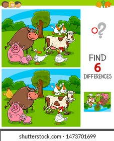 Cartoon Illustration of Finding Six Differences Between Pictures Educational Game for Children with Farm Animal Characters