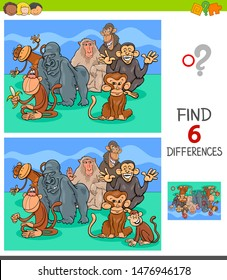 Cartoon Illustration of Finding Six Differences Between Pictures Educational Game for Children with Monkeys Animal Characters