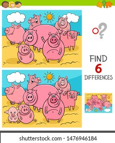 Cartoon Illustration of Finding Six Differences Between Pictures Educational Game for Children with Pigs Farm Animal Characters