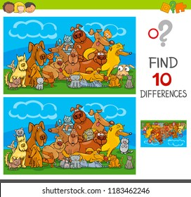 Cartoon Illustration of Finding Ten Differences Between Pictures Educational Game for Children with Cats and Dogs Animal Characters