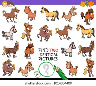 Cartoon Illustration of Finding Two Identical Pictures Educational Activity Game for Children with Horses Farm Animal Characters