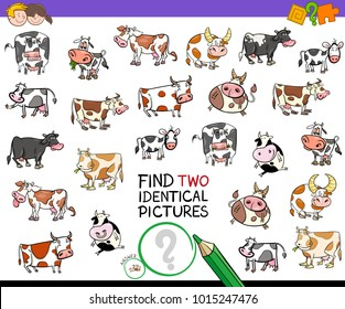 Cartoon Illustration of Finding Two Identical Pictures Educational Activity Game for Children with Cows Farm Animal Characters
