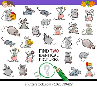 Cartoon Illustration of Finding Two Identical Pictures Educational Activity Game for Children with Mice Animal Characters