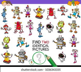 Cartoon Illustration of Finding Two Identical Pictures Educational Activity Game for Children with Robot Characters