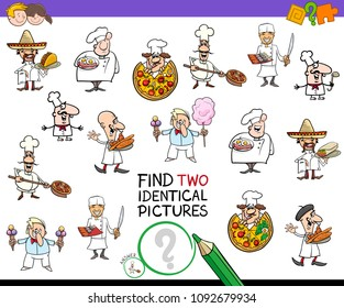 Cartoon Illustration of Finding Two Identical Pictures Educational Game for Children with Chef Characters and Food