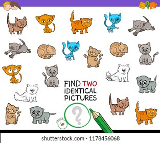 Cartoon Illustration of Finding Two Identical Pictures Educational Game for Kids with Kitten Characters