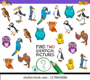 Cartoon Illustration of Finding Two Identical Pictures Educational Game for Children with Birds Animal Characters