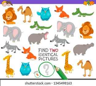 Cartoon Illustration of Finding Two Identical Pictures Educational Game for Children with Wild Animal Characters