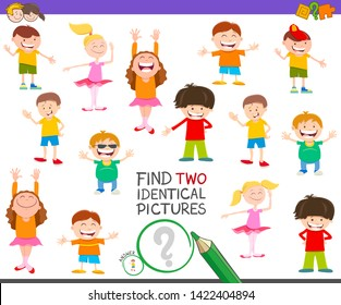 Cartoon Illustration of Finding Two Identical Pictures Educational Activity Game for Kids with Funny Children and Teens Characters