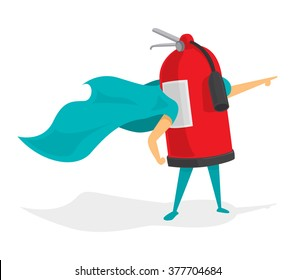 Cartoon illustration of fire extinguisher super hero