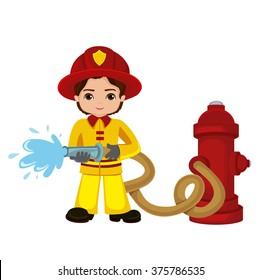 Cartoon illustration of a firefighter boy.