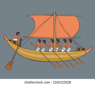 cartoon illustration of first sailing ship example, ancient egyptian boat with sail and rowers