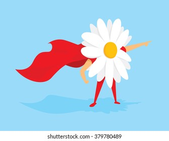 Cartoon illustration of flower power super hero with cape