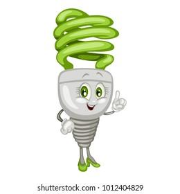 Cartoon Illustration of a Fluorescent Light Bulb. Cute Mascot Pointing Up