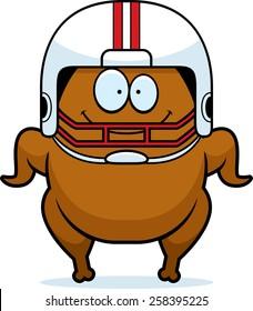 A cartoon illustration of a football turkey smiling.