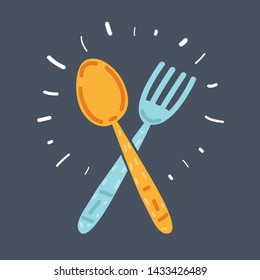 Cartoon illustration of Fork and spoon cartoon icon. Kitchen tool, cookware and kitchenware on dark background.