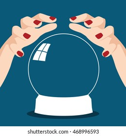 Cartoon illustration of a fortune teller hands with crystal ball