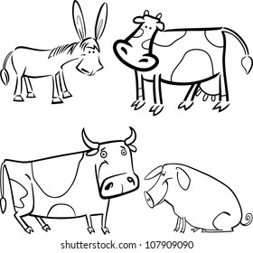 cartoon illustration of four cute farm animals set for coloring book