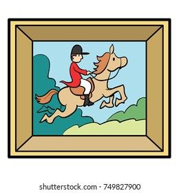 Cartoon illustration of a framed painting, art of a fox hunter of horseback rider jumping.