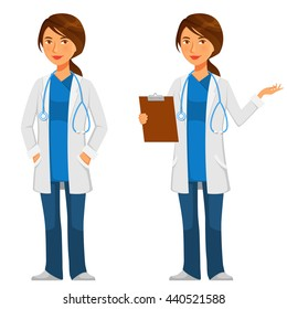 cartoon illustration of a friendly young doctor