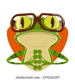 cartoon illustration of a frog with nerd glasses