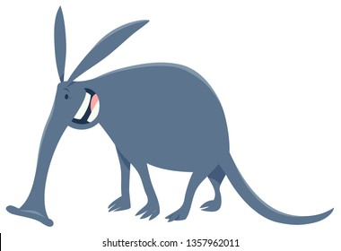 Cartoon Illustration of Funny Aardvark Animal Character