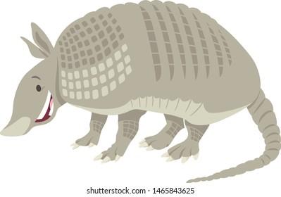 Cartoon Illustration of Funny Armadillo Wild Animal Character