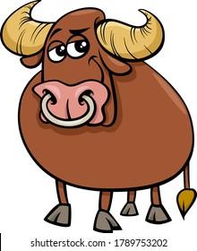 Cartoon Illustration of Funny Bull Farm Animal Comic Character