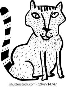 Cartoon illustration of funny cat