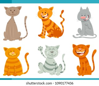 Cartoon Illustration of Funny Cats or Kittens Animal Characters Set