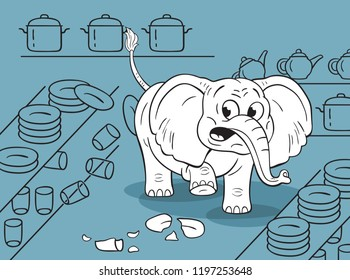 Cartoon  illustration of a funny clumsy elephant in a china shop