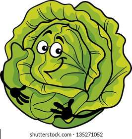 Cartoon Illustration of Funny Comic Green Cabbage or Lettuce Vegetable Food Character