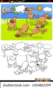 Cartoon Illustration of Funny Dogs Animal Characters in the Park Coloring Book Activity