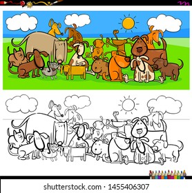 Cartoon Illustration of Funny Dogs Animal Characters Large Group Coloring Book Activity