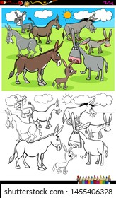 Cartoon Illustration of Funny Donkeys Farm Animal Characters Coloring Book Activity