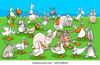 Cartoon Illustration of Funny Ducks and Rabbits Farm Animal Characters Group