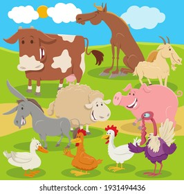 Cartoon illustration of funny farm animal characters group in the countryside