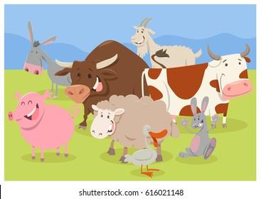Cartoon Illustration of Funny Farm Animal Characters Group