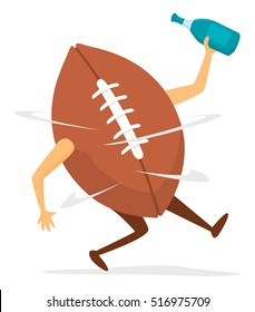 Cartoon illustration of funny football dizzy after fumble