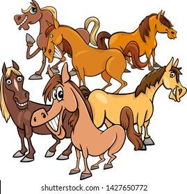 Cartoon Illustration of Funny Horses Farm Animal Characters Group