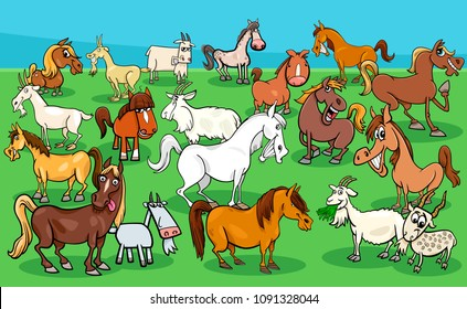 Cartoon Illustration of Funny Horses and Goats Farm Animal Characters Group