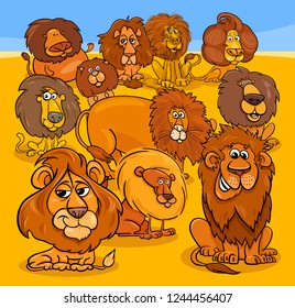 Cartoon Illustration of Funny Lions Animal Characters Group