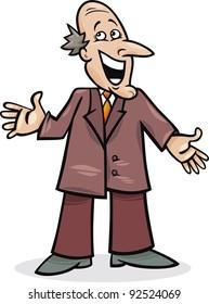 cartoon illustration of funny man in suit