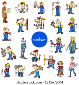 Cartoon Illustration of Funny Manual Workers at Work Characters Large Set