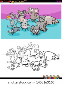Cartoon Illustration of Funny Mice Animal Characters Coloring Book Activity