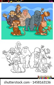 Cartoon Illustration of Funny Monkeys and Apes Animal Characters Coloring Book Activity
